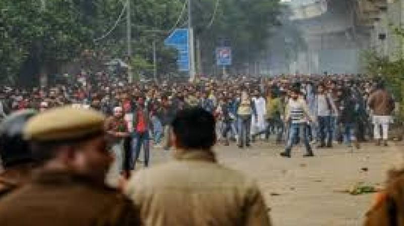 File photo shows students protesting against Delhi Police outside the Jamia Millia Islamia University. PTI photo