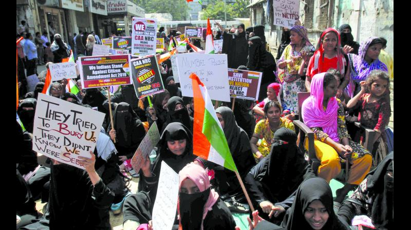 Muslim women protest against the Citizenship Amendment Act (CAA) and National Register of Citizens (NRC) at Nagpada on Monday. (Photo: Asian Age)