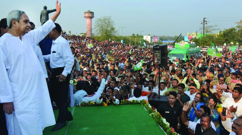 A file photo of BJD president and Odisha chief minister Naveen Patnaik addressing an election rally.