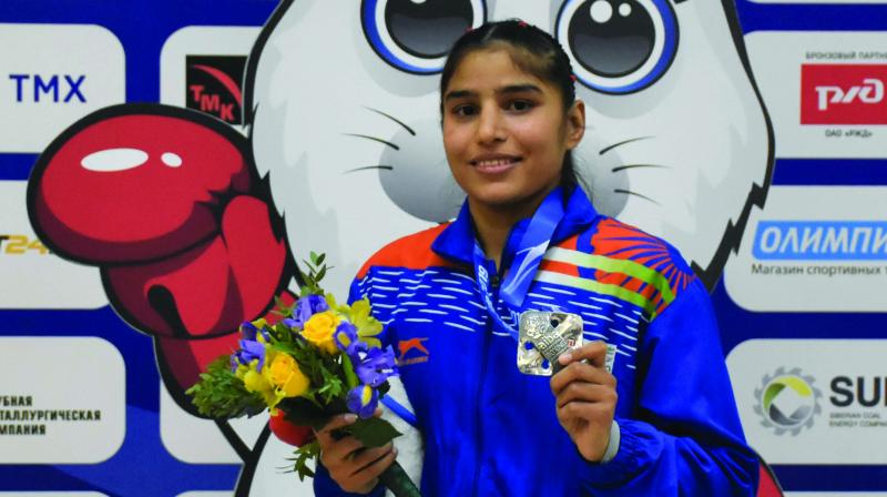 Manju Rani poses with her silver medal at the Women's Boxing World Championship in Ulan-Ude, Russia.