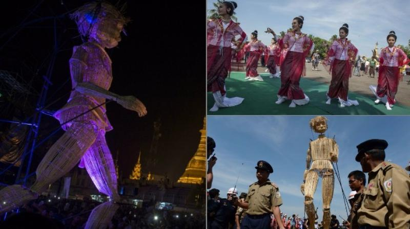 The three-day long festival held in celebration of the 55th anniversary of French-Myanmar relations, gathers local and international artists from street art, music, circus and dance (Photo: AFP)