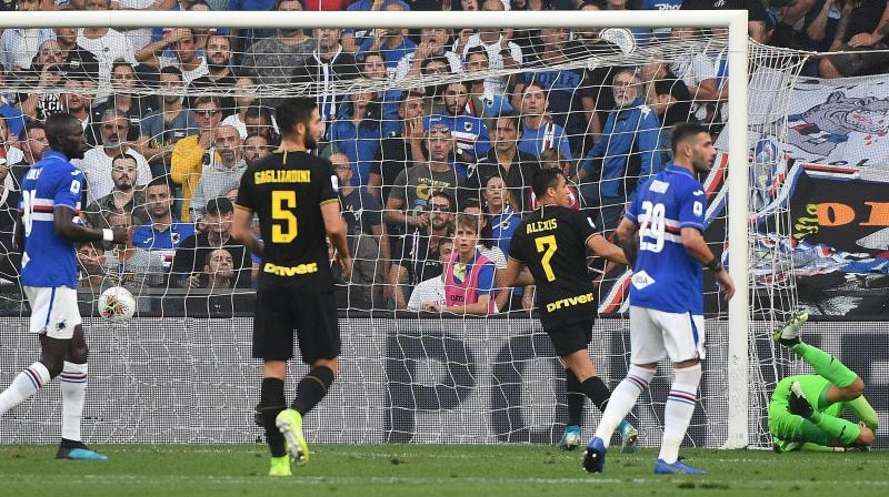 Alexis Sanchez scored and was sent off in his first start for Inter Milan as the Serie A leaders maintained their perfect record with a 3-1 win at Sampdoria on Saturday. (Photo:AP)