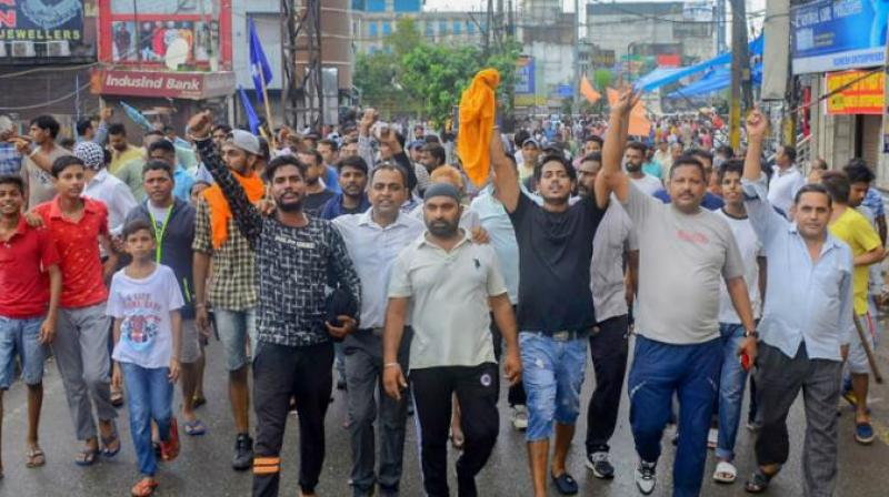 The protest, attended by a large number of people from different states, caused massive traffic jams in several areas of the city. (Photo: PTI)