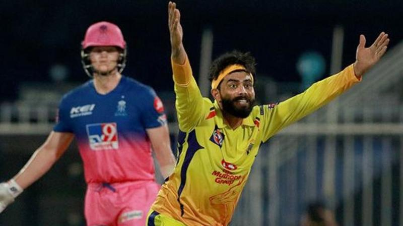 Chennai Super Kings bowler Ravindra Jadeja appeals for an LBW during IPL 2020 cricket match against Rajasthan Royals, at Sharjah Cricket Stadium, in Sharjah on Sept. 22, 2020. (PTI)