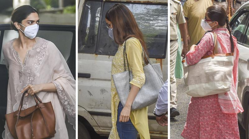 Combo image of Bollywood actresses Deepika Padukone (left), Shraddha Kapoor and Sara Ali Khan at the NCB office for questioning on drugs in Bollywood on Saturday, Sept. 26, 2020. (PTI)