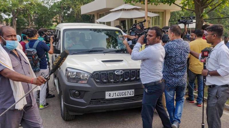 A team of Special Operations Group (SOG) of Rajasthan Police arrives at ITC Grand Bharat hotel where Congress MLAs were staying, at Manesar in Gurugram. PTI photo