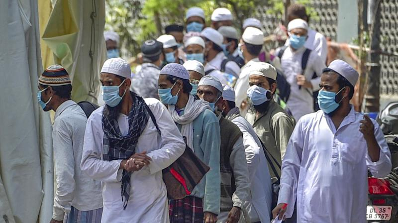 People who came for 'Jamat', a religious gathering at Nizamuddin Mosque, being taken to LNJP hospital for COVID-19 test, after several people showed symptoms of coronavirus, during a nationwide lockdown, in New Delhi. PTI image