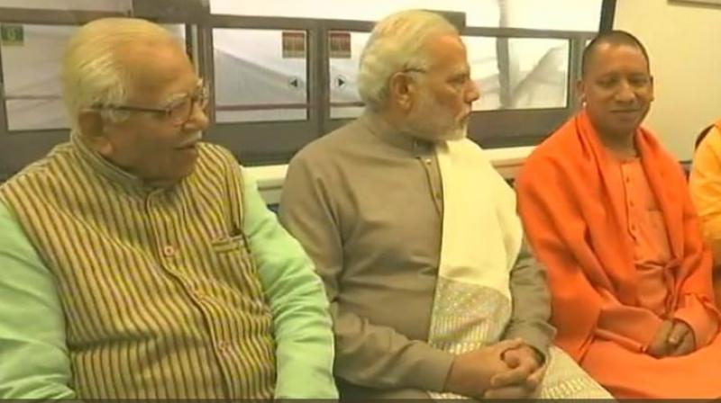 Uttar Pradesh Chief Minister Yogi Adityanath accompanied him at the inauguration of the Metro line but Delhi's CM, Arvind Kejriwal, was not invited. (Photo: ANI/Twitter)