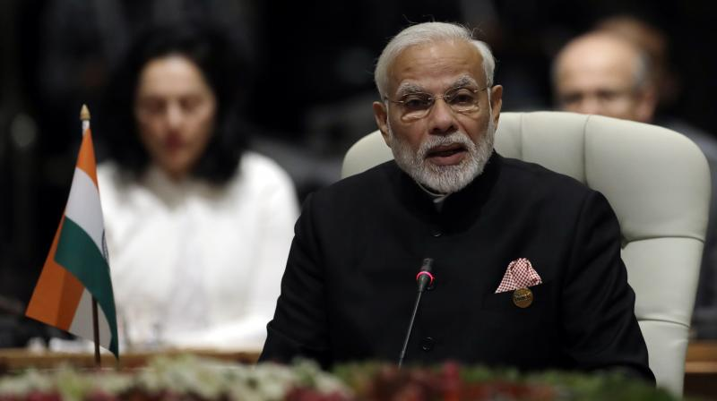 Prime Minister Modi who arrived in Johannesburg on Wednesday to attend the BRICS Summit called for sharing the best practices and policies in the connection, while adding that technology can help to enhance better service delivery, productivity levels. (Photo: AP)