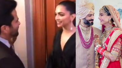 (Left) Screegrab from Deepika Padukone's video with Anil Kapoor, (right) Sonam K Ahuja and Anand S Ahuja