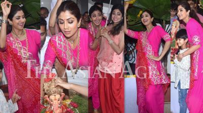 Bollywood actor Shilpa Shetty Kundra bids adieu to her house's Ganpati Bappa on Tuesday after worshipping him for one and half days. The actress enjoyed every moment of Ganesh Visarjan with husband Raj Kundra, son Viaan and sister Shamita Shetty. (Photos: Viral Bhayani)