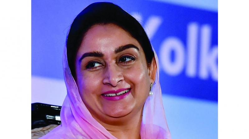 Union minister for food processing Harsimrat Kaur Badal during an interactive session, in Kolkata on Friday. (Photo:  PTI)