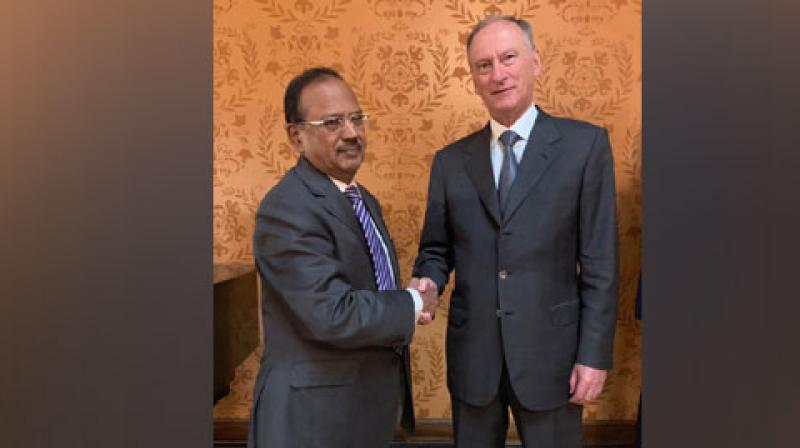 NSA Ajit Doval with Russian counterpart Nikolai Patrushev in Moscow on Wednesday. (Photo: ANI)