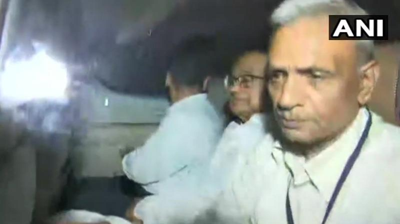 P Chidambaram arrested by CBI and brought to CBI headquarters. (Photo: ANI)