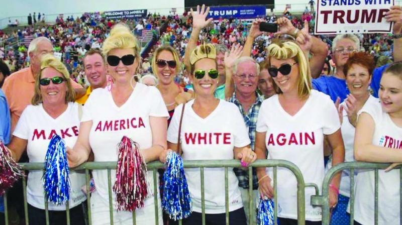 A file photo of supporters of US President-elect Donald Trump attending an election rally.