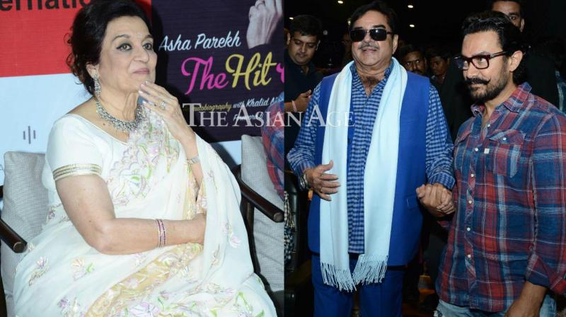 After Salman Khan had launched the autobiography of Asha Parekh. 'The Hit Girl', in Munbai few days back, Aamir Khan also unveiled the book along with Shatrughan Sinha in Delhi on Sunday. (Photo: Viral Bhayani)