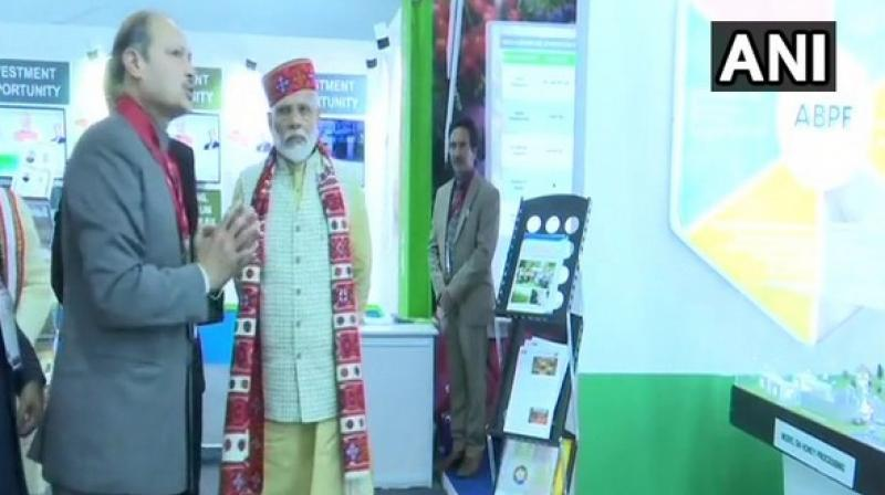 Himachal Pradesh Governor Bandaru Dattatreya and Chief Minister Jai Ram Thakur were also present at the event along with the Prime Minister. (Photo: ANI)