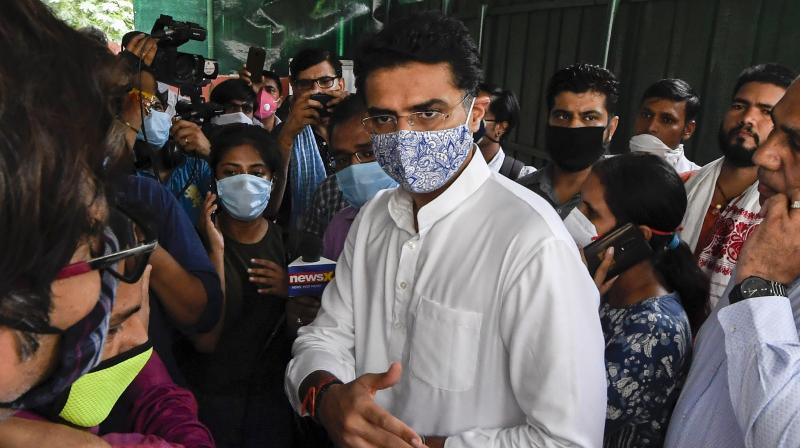 Congress leader Sachin Pilot interacts with the media at his residence in New Delhi, Tuesday. (PTI)