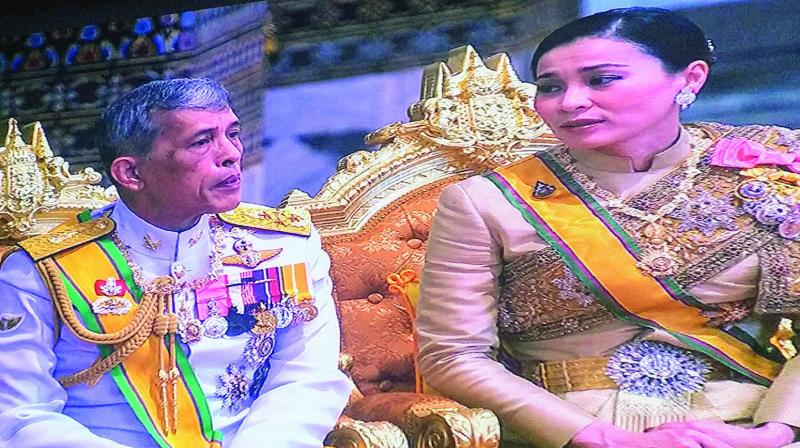 King Rama X and Queen Suthida during the royal coronation; the royal procession. (Photo: Lekha Shankar)