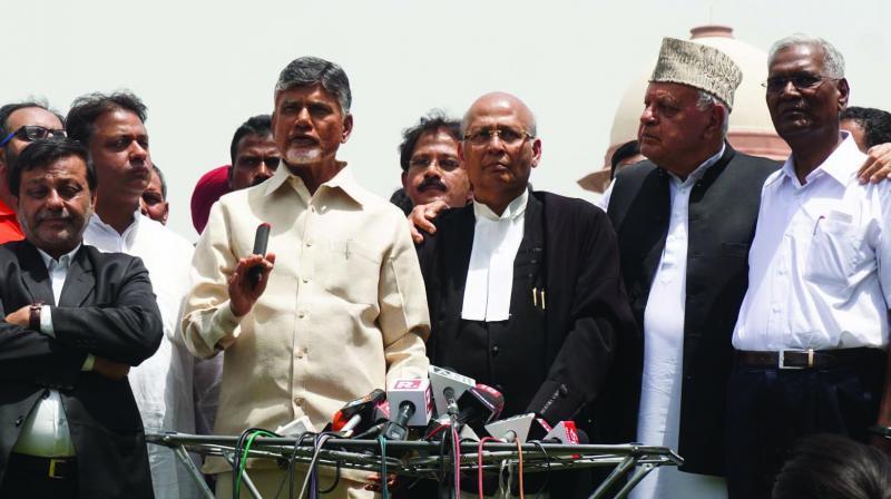 Opposition leaders N. Chandrababu Naidu, Abhishek Manu Singhvi, Farooq Abdullah, D. Raja and others address the media on Tuesday. (Photo: Asian Age)