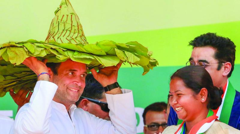 Congress President Rahul Gandhi being offered traditional headgear during campaign rally at Chaibasa in West Singhbhum district on Tuesday. (Photo: PTI)