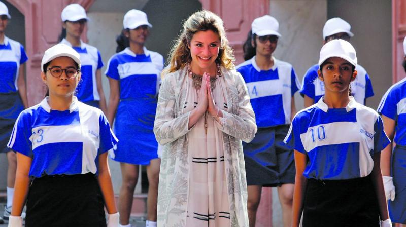 Canadian Prime Minister's wife Sophie Grégoire Trudeau spoke to students of  Sophia College for women in Mumbai. (Associated Press)