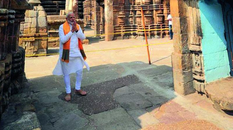 """This picture of PM @narendramodi at the Lingaraj Temple in Odisha has emerged as the most popular photo shared by a leader in 2017,"" the Prime Minister's Office tweeted."