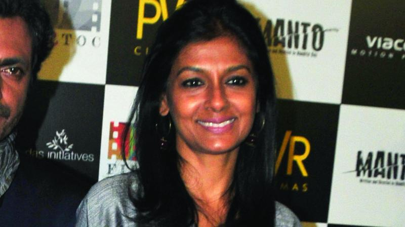Nandita Das at a media interaction in the capital on Wednesday afternoon.