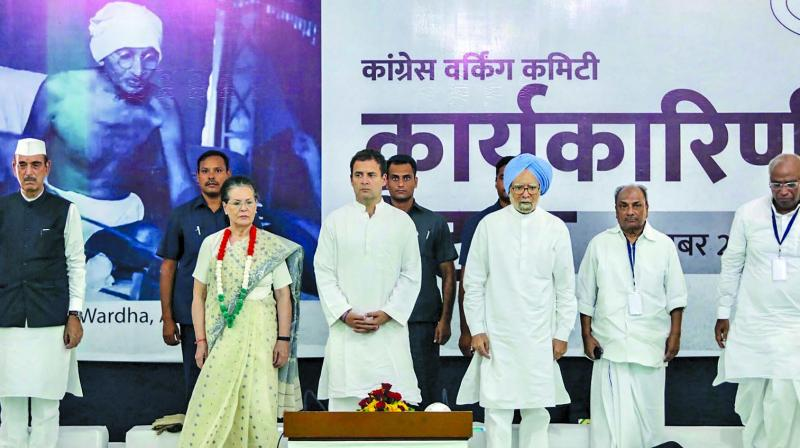 Congress president Rahul Gandhi, former Congress president Sonia Gandhi, former prime minister Manmohan Singh and other senior leaders at the CWC meeting at Sevagram. 	(Photo: PTI)
