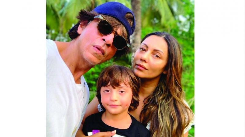 Taking to social media, Gauri shared two pictures, one of which is a selfie with Shah Rukh and son AbRam.