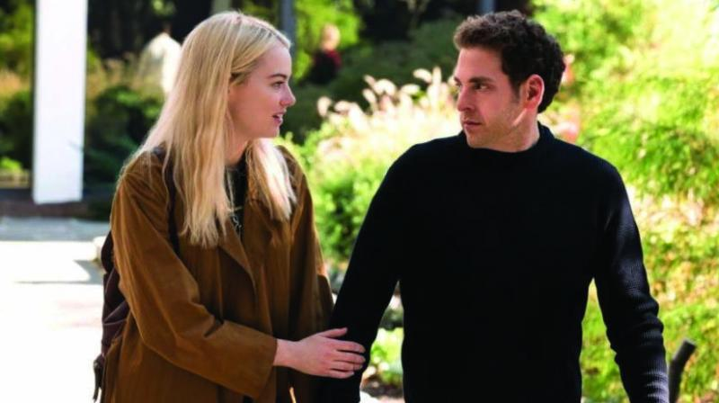 Emma Stone and Jonah Hill in a scene from Maniac.