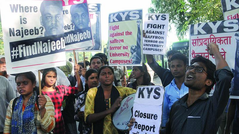 Activists protest against the decision to close the Najeeb Ahmed disappearance case in New Delhi on Monday. (Photo: GN Jha)