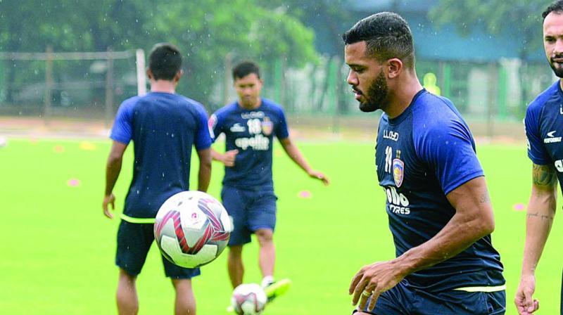 Chennaiyin player Raphael Augusto during a training session in Chennai.