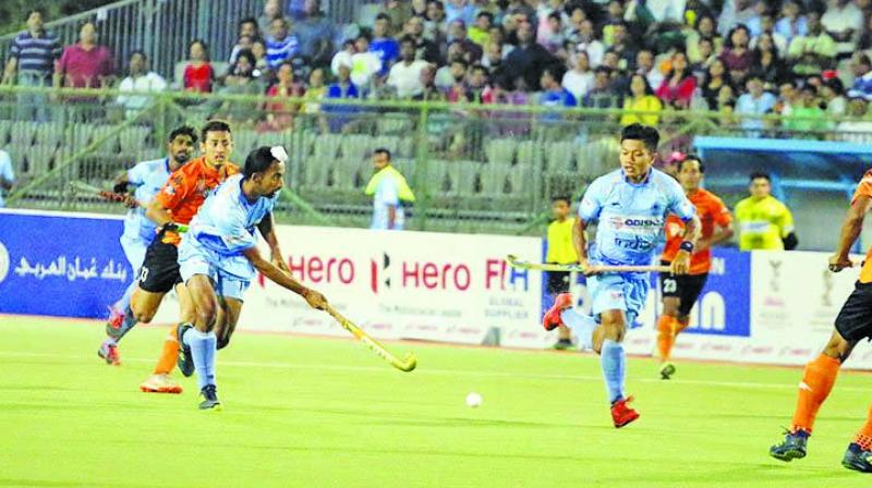 Action from the match between India and Malaysia in the Asian Champions Trophy on Tuesday in Muscat, Oman. The match ended goalles. (Photo: Hockey India)