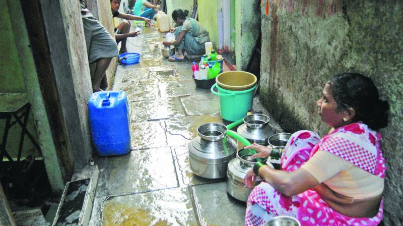 The civic body presently provides a water connection to a group of five slum dwellers at a minimum.