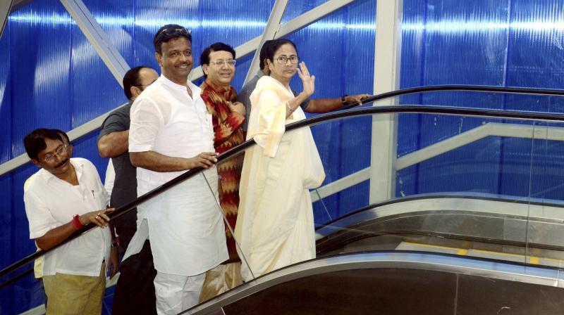 CM Mamata Banerjee during the inauguration of Dakshineswar Skywalk, in Kolkata on Monday. (Photo: PTI)