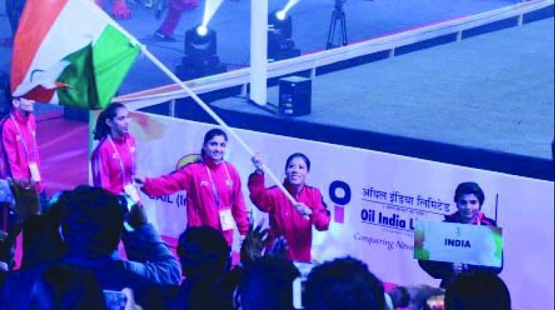 Mary Kom leads the Indian contingent during the opening ceremony of the Women's Boxing Worlds.