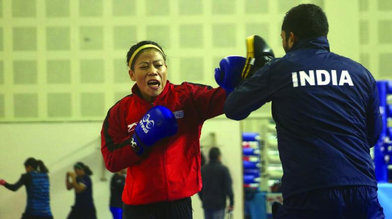 M.C. Mary Kom at a practice session in New Delhi on Wednesday.	 (Photo: Biplab Banerjee)
