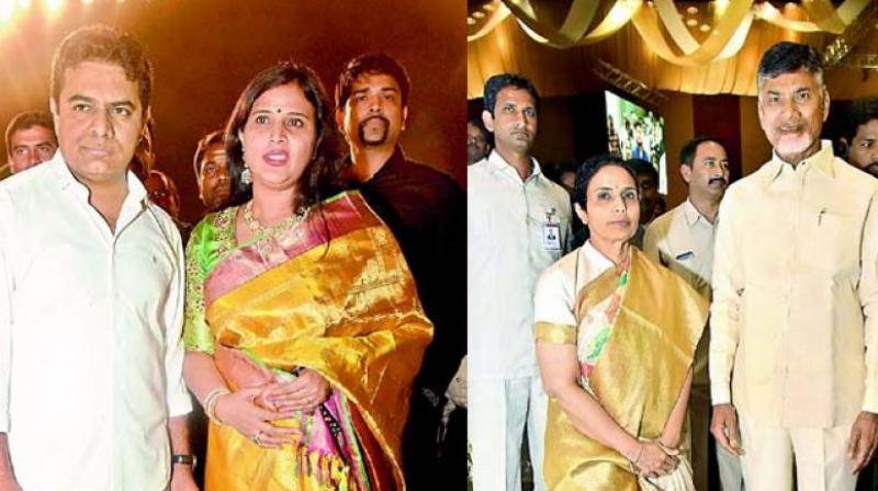 The revelation of sorts is that assets registered on the spouses name will help politicos 'escape' tax scrutiny. (Left) K.T. Rama Rao and wife K. Shailima; (right) Nara Bhuvaneswari and Chandrababu Naidu.