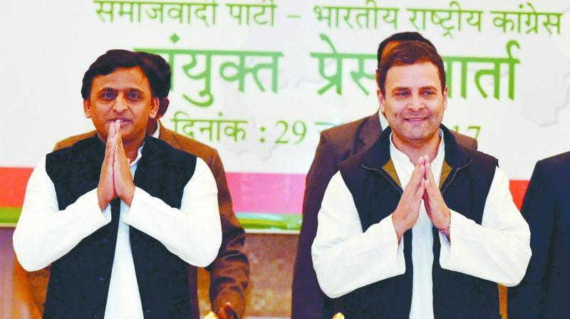Samajwadi Party chief Akhilesh Yadav and Congress president Rahul Gandhi