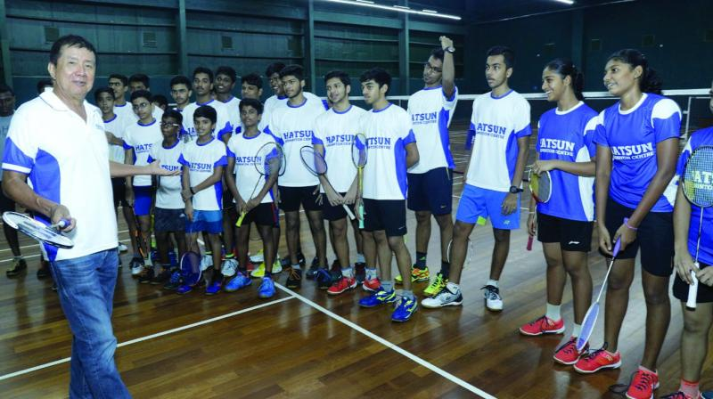Badminton legend Rudy Hartono with the trainees of the Hatsun Badminton Academy in Thiruthangal, a small town in Virudhunagar district in Tamil Nadu.
