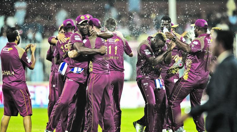 Northern Warriors players celebrate their win over Pakhtoon in the T10 League final on Sunday.