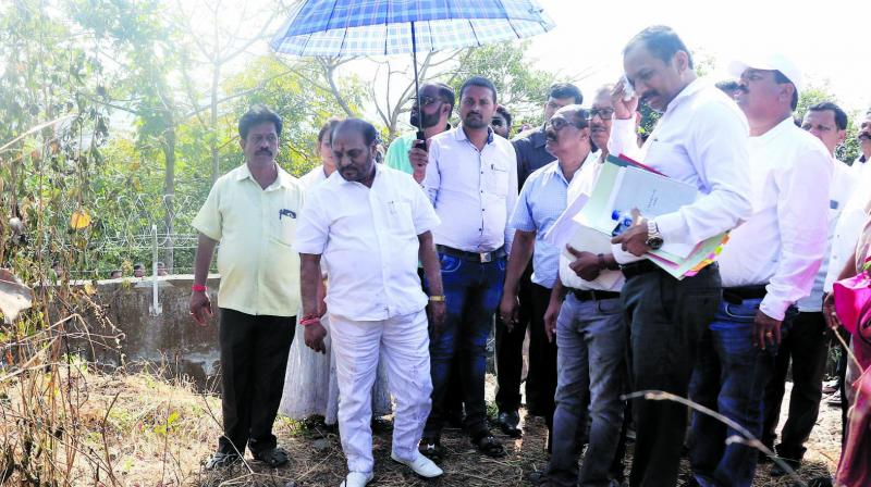 Environment minister Ramdas Kadam surveys the area where fire broke out near Aarey on Thursday. (Photo: Mrugesh Bandiwadekar)