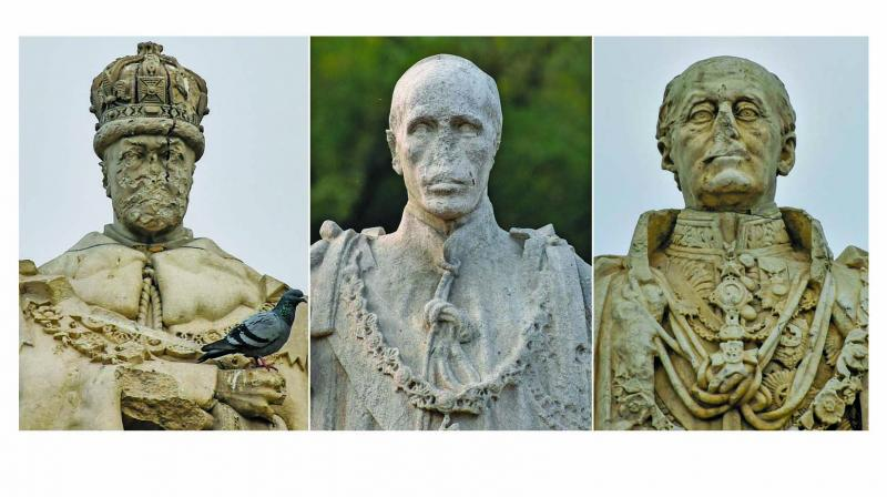 Damaged statues of King George V, Lord Irwin and Lord Hardinge lying defaced at Coronation Park on its 107th anniversary. (Photo: PTI)
