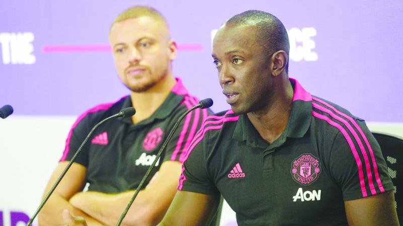 Former Manchester United stars Wes Brown (left) and Dwight Yorke at a promotional event in Chennai on Friday. (Photo: Asian Age)