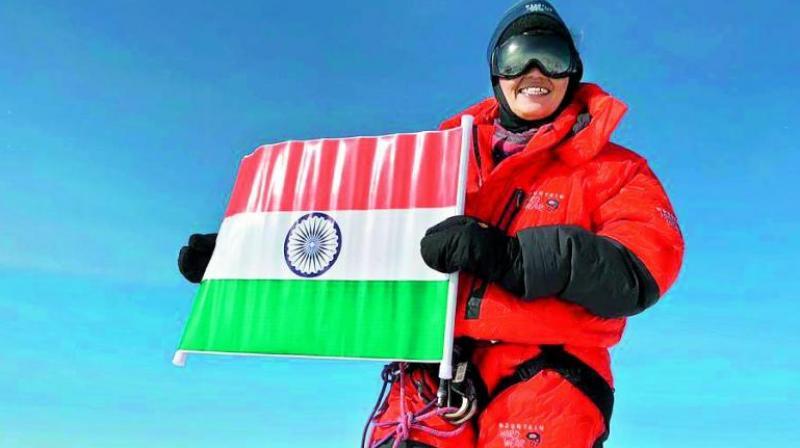Radhika after climbing the Mt Vinson, the highest peak of Antarctica
