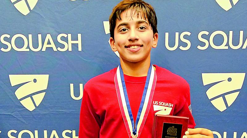 Rohan Arya Gondi after winning the US Junior Squash Open championship.