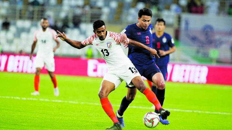 Indian forward Ashique Kuruniyan in action against Thailand in the first league game of the AFC Asian Cup in Abu Dhabi.