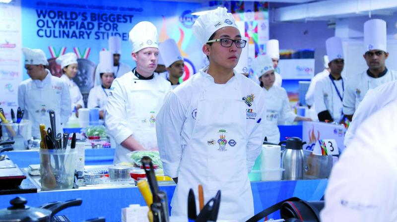 Young chefs during the competition.