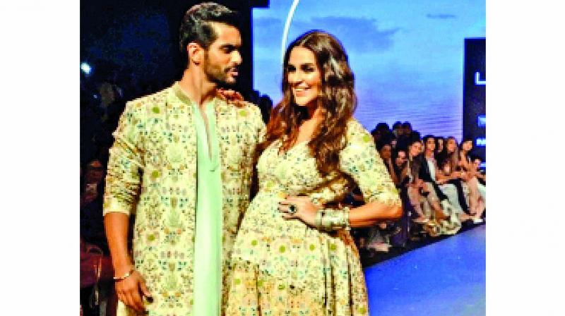 Neha Dhupia with her husband Angad in a file photograph used for representational purposes only.